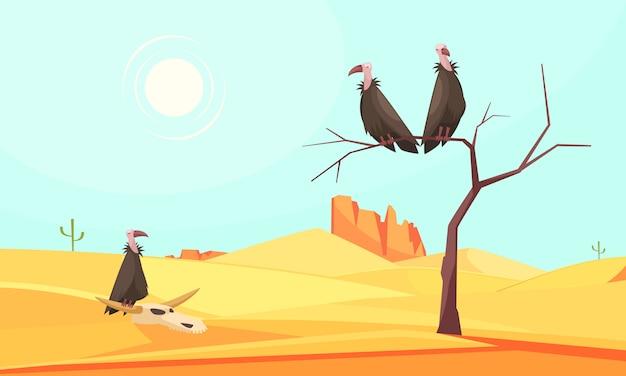 砂漠の鳥の景観構成 無料ベクター