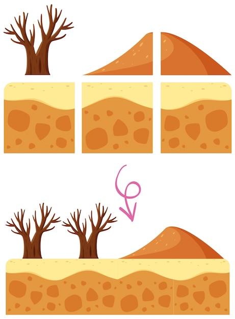 A desert dune game element Free Vector