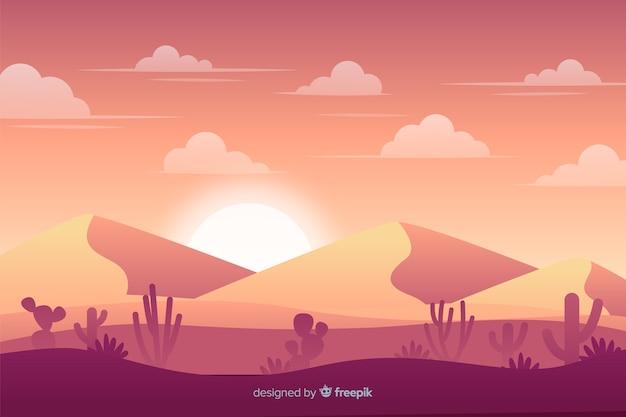 Desert landscape background flat design Free Vector