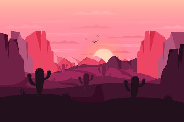 サボテンとのビデオ会議のための砂漠の風景の背景 無料ベクター