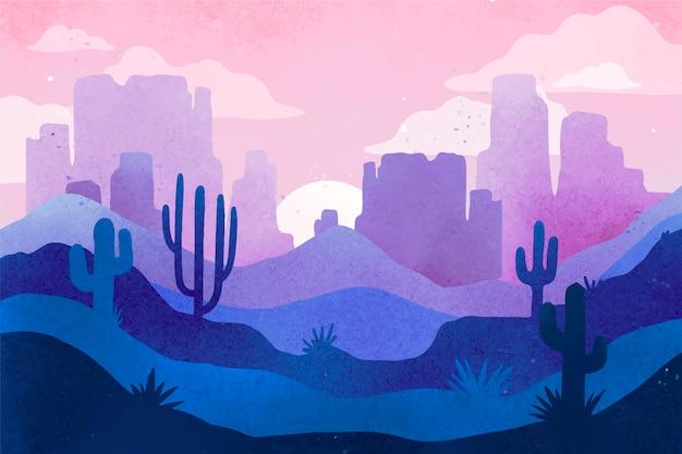 ビデオ会議用の砂漠の風景の背景 無料ベクター