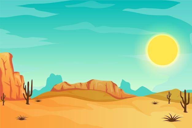 砂漠の風景-ビデオ会議の背景 Premiumベクター