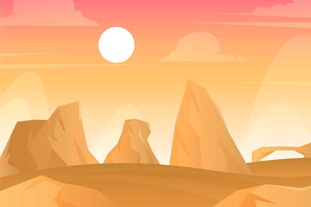 Desert landscape - background for video conferencing Free Vector