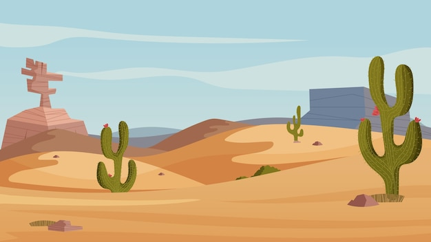 Desert landscape - background for video conferencing Premium Vector