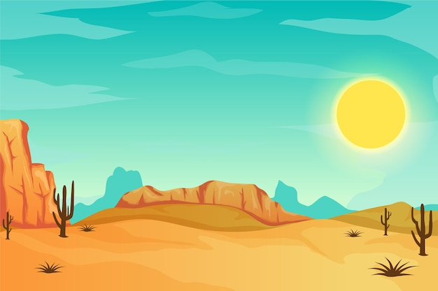 Desert landscape - background for video conferencing Premium Vector