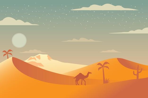 Desert landscape background for video conferencing Free Vector