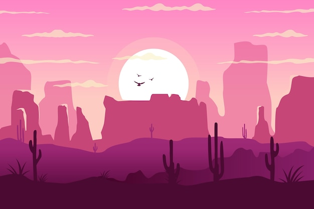 Paesaggio desertico - sfondo per videoconferenze Vettore gratuito