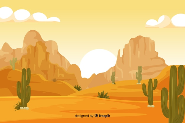 Desert landscape background with cacti Free Vector