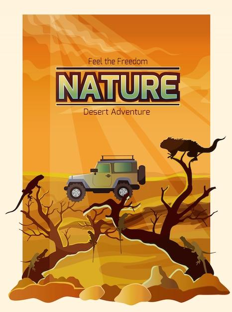 Desert landscape backround Free Vector
