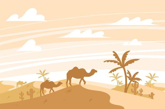 ビデオ会議のための砂漠の風景 無料ベクター