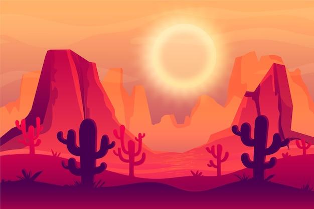 ビデオ会議用の砂漠の風景の壁紙 無料ベクター