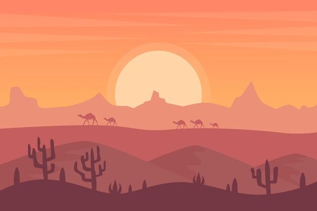 Desert landscape wallpaper for video conferencing Premium Vector