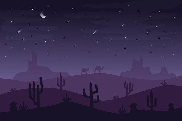Desert landscape wallpaper for video conferencing Free Vector
