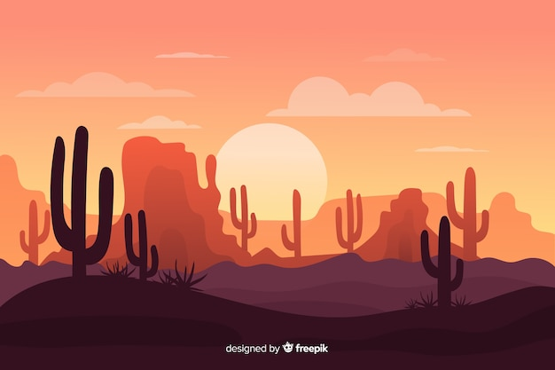 Desert landscape with army of cacti Free Vector
