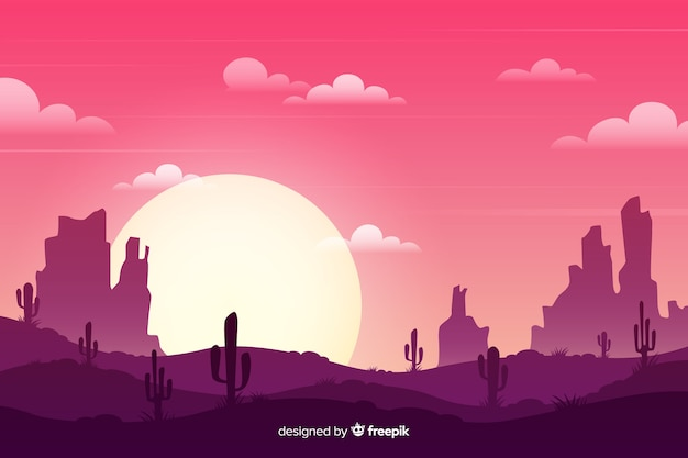 Desert landscape with cacti and sun Free Vector