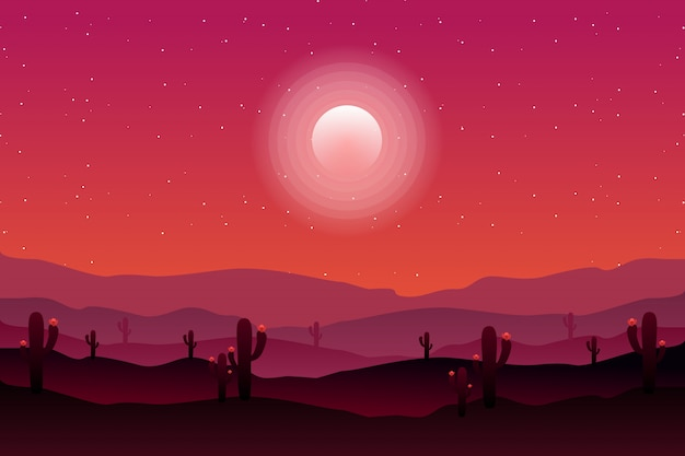 Desert landscape with cactus, hills and mountains silhouettes Premium Vector