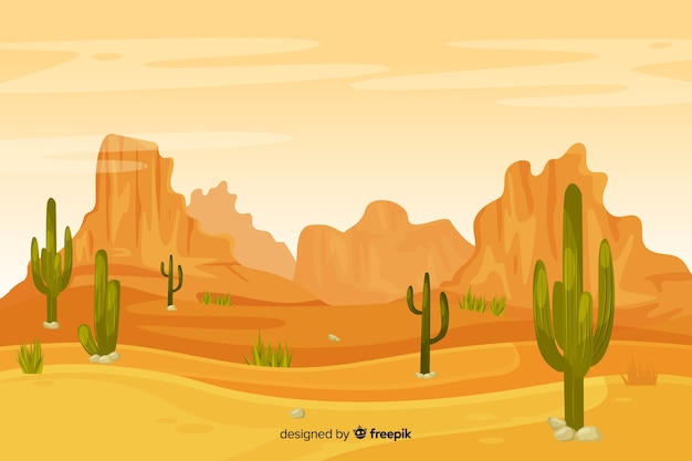 Desert landscape with dunes and cacti Free Vector
