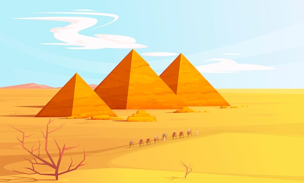 Desert landscape with egyptian pyramids and camels Free Vector