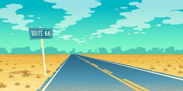 Пустынный пейзаж с пустым асфальтом в каньон, пустырь. маршрут 66, дорожка с дорожным знаком. Бесплатные векторы