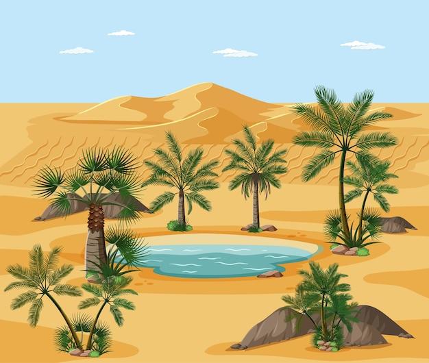 Desert landscape with nature tree elements scene Free Vector