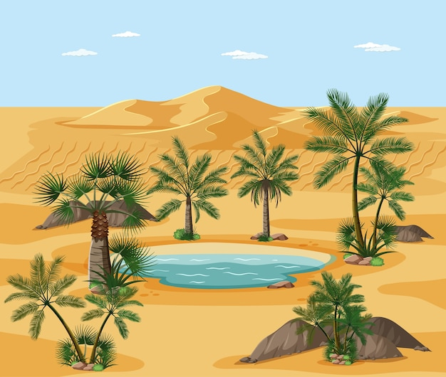 Desert landscape with nature tree elements scene Free Vector