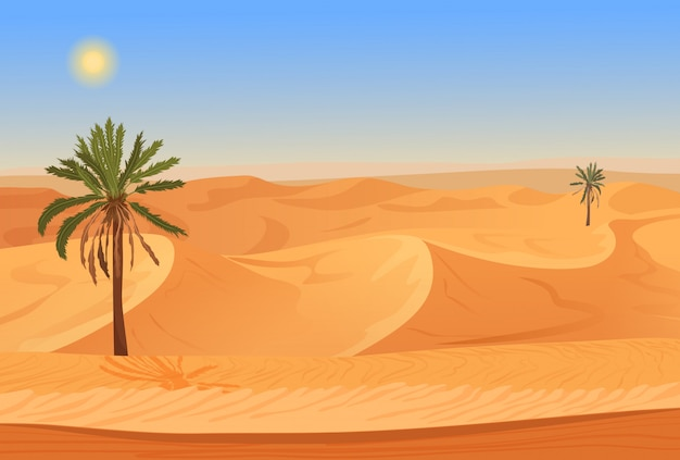 Desert landscape with palms Premium Vector