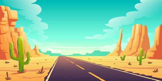 Desert landscape with road, cactuses and rocks Free Vector