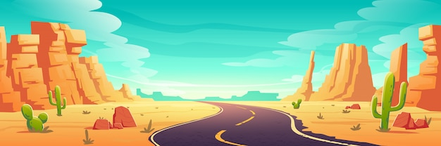 Desert landscape with road, rocks and cactuses Free Vector
