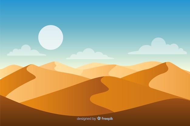 太陽と黄金の砂の砂漠の風景 Premiumベクター