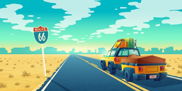 Desert landscape with suv on asphalt way to canyon, wasteland. route 66 with transport Free Vector