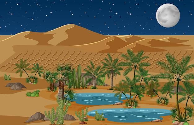 夜のシーンでヤシとサボテンの自然の風景と砂漠のオアシス 無料ベクター