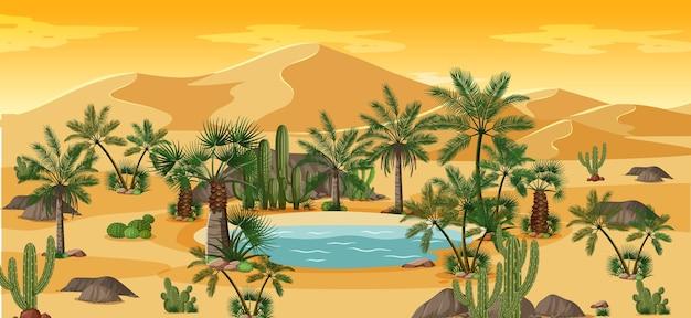 ヤシとサボテンの自然景観シーンと砂漠のオアシス Premiumベクター