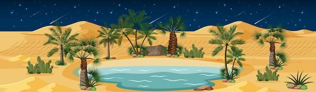 夜景のヤシの木とカトゥスの自然の風景と砂漠のオアシス 無料ベクター
