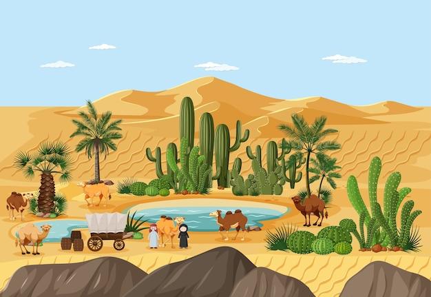 ヤシとカトゥスの自然景観シーンの砂漠のオアシス 無料ベクター