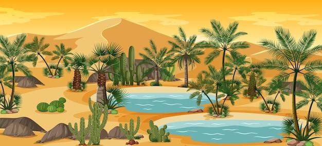 ヤシの木とカトゥスの自然景観シーンのある砂漠のオアシス 無料ベクター