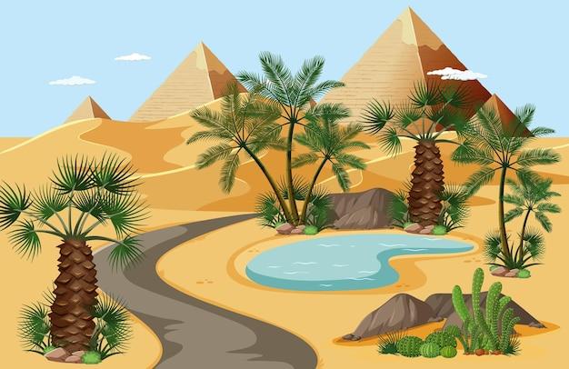 手のひらとピラミッドの自然の風景のシーンと砂漠のオアシス 無料ベクター