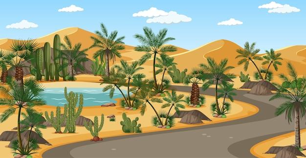 ヤシの木と道路の自然の風景のシーンと砂漠のオアシス 無料ベクター