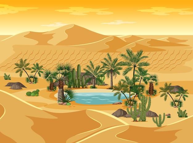 ヤシの自然景観シーンと砂漠のオアシス 無料ベクター