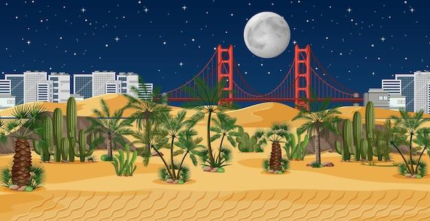 ヤシの自然景観シーンと砂漠のオアシス Premiumベクター