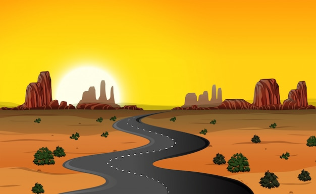 A desert road background Free Vector