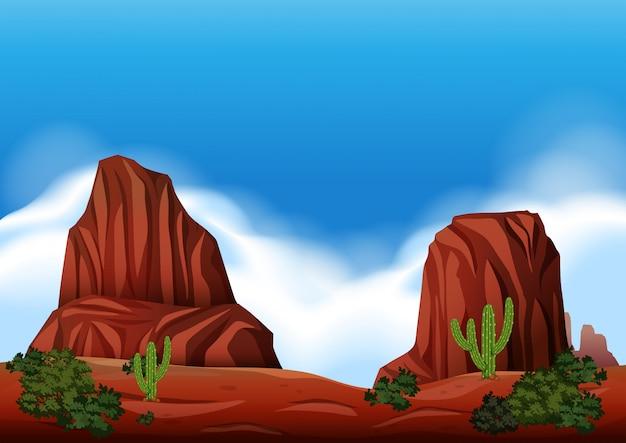 Сцена пустынной скалы в природе Premium векторы