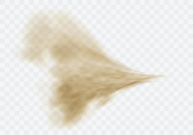 사막 모래 폭풍, 투명에 갈색 먼지 구름 무료 벡터
