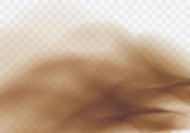 Tempesta di sabbia del deserto, fondo trasparente marrone della nuvola polverosa Vettore gratuito