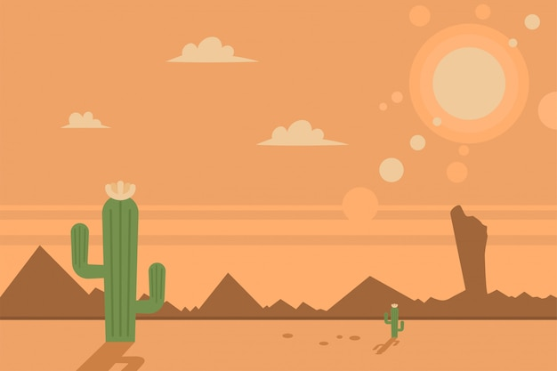 Desert scene with cacti and sun. vector cartoon flat landscape. Premium Vector