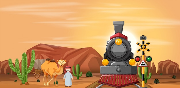 Desert scene with train and camel Premium Vector