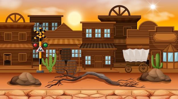 Desert street town scene background Free Vector
