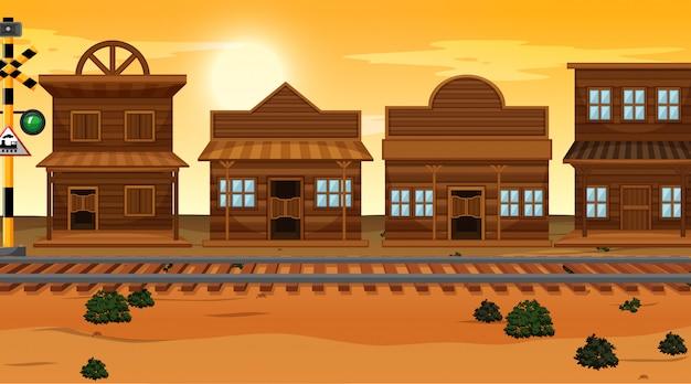 Desert town background scene Free Vector