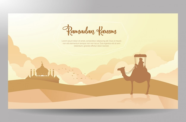 Desert traveler themed ramadan kareem poster design Premium Vector