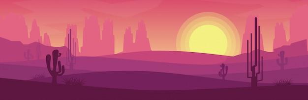 Вид пустыни, когда солнце заходит в стиле баннера Premium векторы