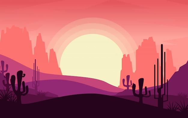 Вид на пустыню в то время как солнце Premium векторы